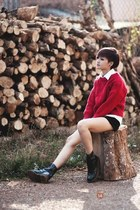 black boots - ruby red sweater - black shorts