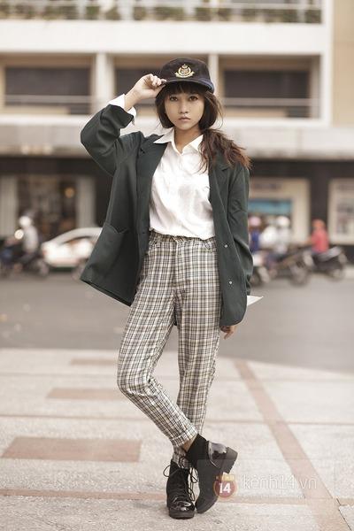 dark green coat - dark gray hat - white shirt - silver pants