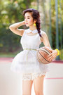 White-mini-dress-dress-ivory-lace-up-shorts-yellow-sneakers