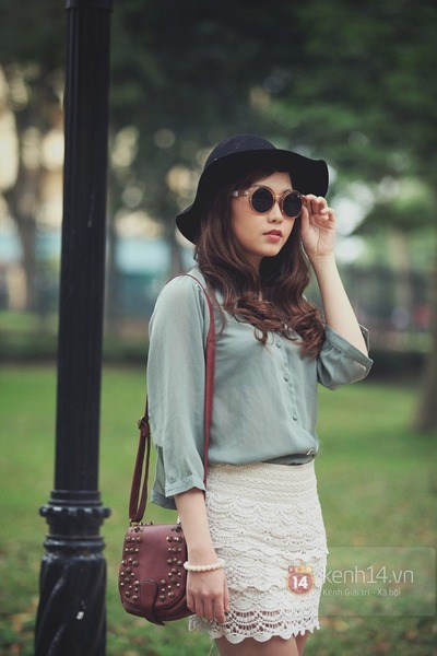 black hat - heather gray blouse - ivory skirt