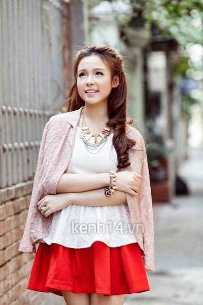 light pink blazer - white top - red skirt