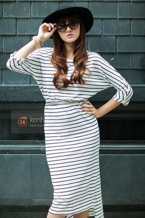 black hat - white dress