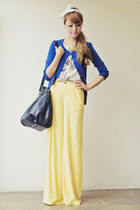 blue cardigan - black bag - light yellow pants
