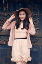 tan hat - peach dress - light pink blazer