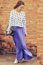light purple skirt - brown bag - white blouse