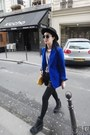 Black-boots-blue-blazer-black-tights-yellow-bag-black-shorts