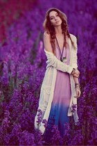 amethyst dress - ivory cardigan
