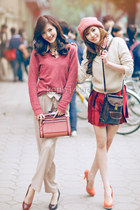 pink blouse - off white blouse - off white pants - red skirt