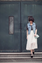 white mullet skirt - sky blue high waisted blazer - dark gray t-shirt