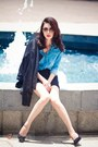Black-jacket-sky-blue-shirt-black-skirt