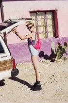 black shoes - hot pink bag - light blue shorts - violet top