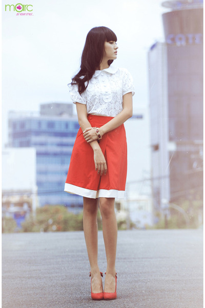 salmon skirt - salmon shoes - white blouse