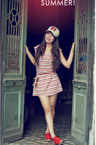 red sneakers - striped dress - cap hat