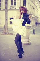dark gray boots - white chiffon dress - eggshell hat - black jacket