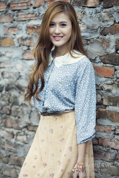 sky blue shirt - cream skirt