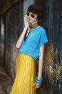Mustard-pleated-skirt-skirt-black-classic-scarf-sky-blue-blouse-bracelet