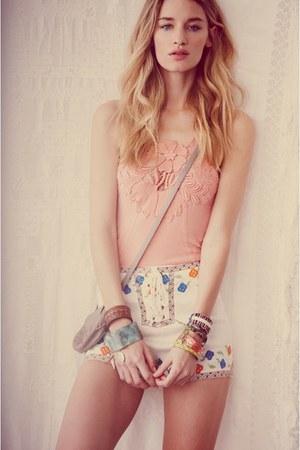 white shorts - light pink top - brown bangles bracelet