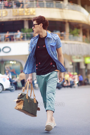 bag - black blouse - aquamarine pants - blue denim t-shirt - sneakers