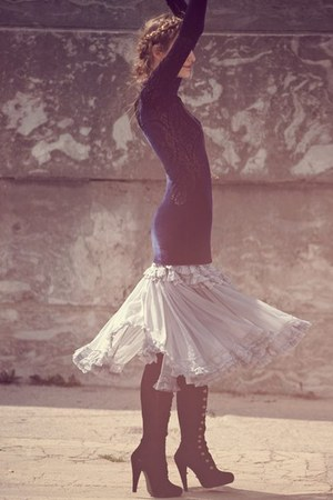black boots - navy dress