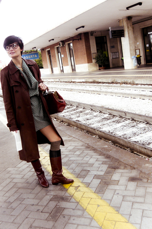 Max Mara coat - paul & joe dress - vintage boots
