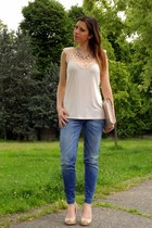 peach H&M shirt - blue REPLAY jeans - neutral H&M bag - neutral Primark heels