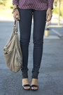 Navy-wax-coated-j-brand-jeans-tan-chain-accent-hype-bag