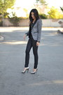 Heather-gray-tweed-target-blazer-black-wax-coated-currentelliott-jeans