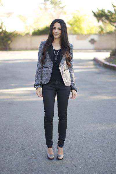 heather gray tweed Target blazer - black wax coated CurrentElliott jeans