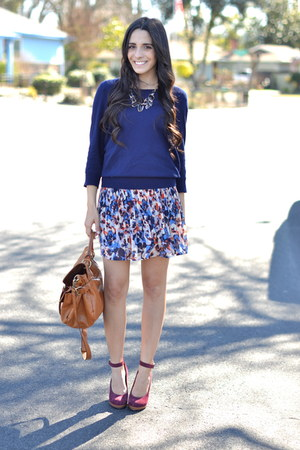 blue floral chiffon kohls skirt - navy simple Forever 21 sweater