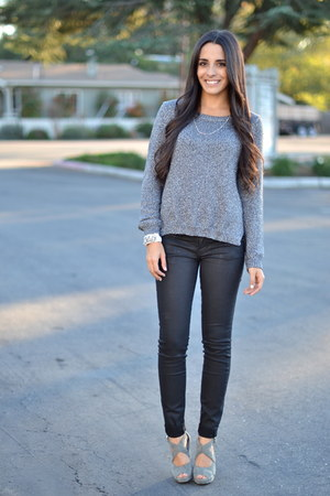 charcoal gray sparkly H&M sweater - black wax coated CurrentElliott jeans