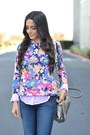 Amethyst-floral-forever-21-sweater-navy-cuffed-j-brand-jeans
