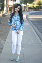 white ankle jeans Paige jeans - turquoise blue Equipment blouse