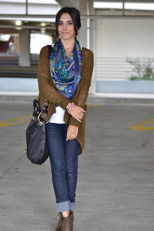 blue silk scarf adrienne landau scarf - olive green booties Target boots