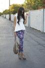 White-peplum-h-m-top-amethyst-floral-joes-jeans-tan-t-strap-unknown-sandals