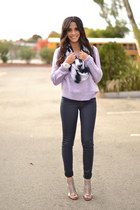 navy wax coated J Brand jeans - light purple knit Forever 21 sweater