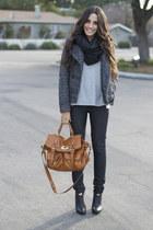 black leather bootie Jessica Simpson boots - black Guess coat
