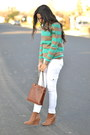 Turquoise-blue-striped-forever-21-sweater-light-brown-wedge-forever-21-boots