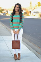 turquoise blue striped Forever 21 sweater - light brown wedge Forever 21 boots