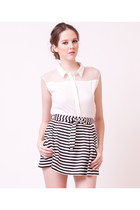 Classic Look Stripes Skirt With Ribbon