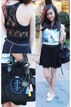 turquoise blue lace Forever 21 top - black Juicy Couture bag