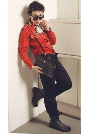paul jean gaultier shirt - balenciaga scarf - christian dior bag - DKNY pants