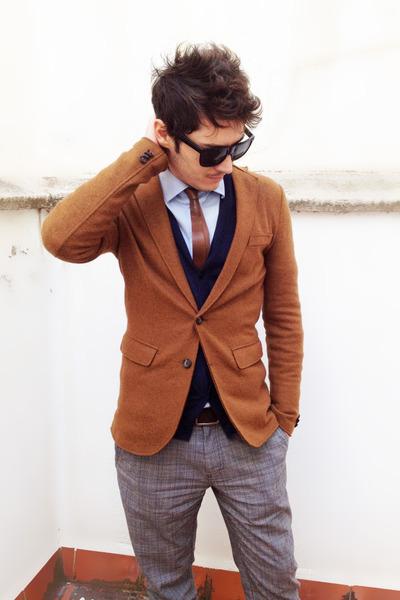 vintage tie el corte ingles tie - Zara blazer - Zara shirt - COS cardigan