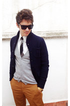 navy Zara jacket - white Zara shirt - heather gray Zara cardigan