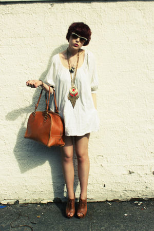 white H&amp;M dress - brown Kate Moss for Topshop bag - beige Ray Ban sunglasses