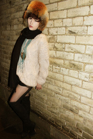 beige H&M sweater - black Topshop boots - brown vintage hat - stockings