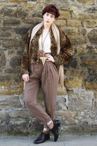 brown Zara pants - beige Topshop t-shirt - brown vintage coat