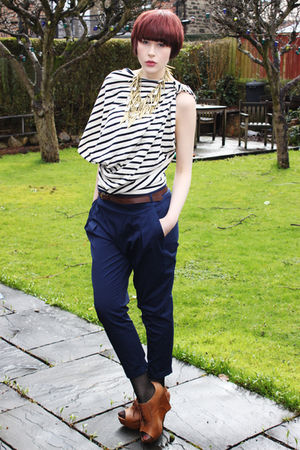 blue Zara pants - black Zara shoes