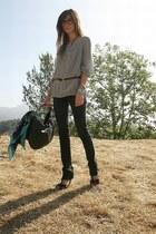 Ksubi jeans - blush sweater - H&M scarf - YSL bag - brian atwood heels