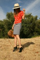 H&M hat - Topshop bag - Forever 21 top - Zara wedges - Forever 21 skirt