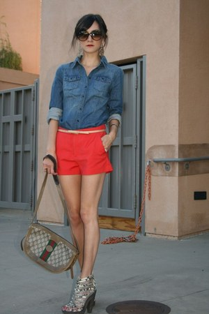 H&M shirt - Vintage Gucci purse - Zara shorts - Hype belt - Joie heels
